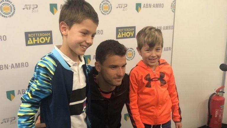 Български момчета носят късмет на Григор Димитров на турнира в Ротердам (видео + снимки)