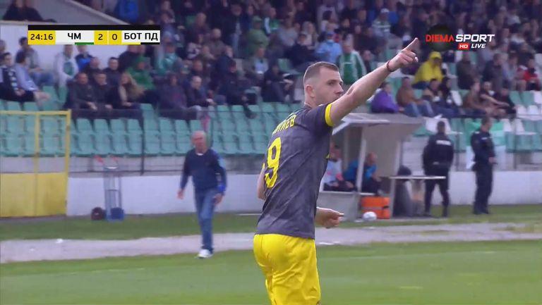 Атанас Илиев отбеляза първи гол  за Ботев Пловдив срещу Черно море