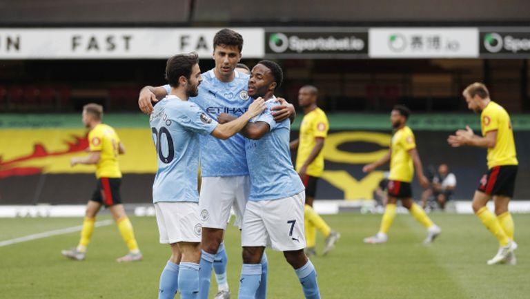Манчестър Сити не пожали Уотфорд и е на крачка от 100 гола (видео)