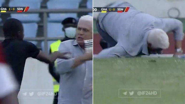 Странно и малко комично: Съдия блъсна треньор по време на мач (видео)