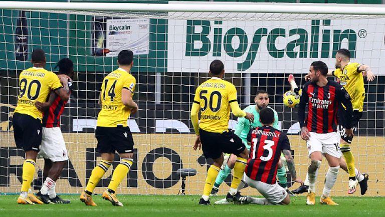 """Дузпа в 97-ата минута спаси Милан от загуба срещу Удинезе, 1:1 на """"Сан Сиро"""""""