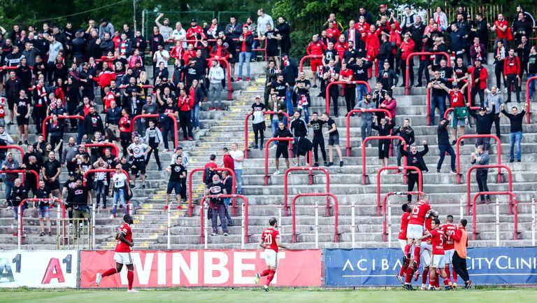 """Радостта на """"червените"""" фенове при гола срещу Лудогорец"""