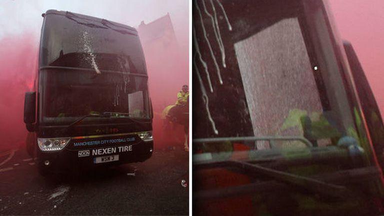 Феновете на Ливърпул атакуваха автобуса на Реал, има счупено стъкло