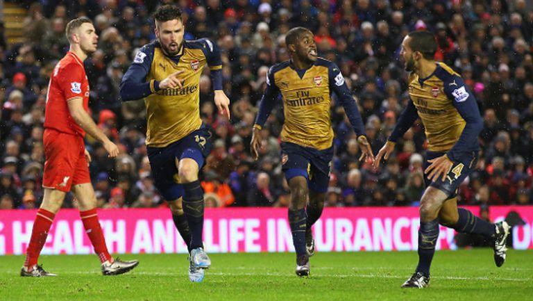 Ливърпул и Арсенал изиграха луд мач с шест гола, но не се победиха (видео)
