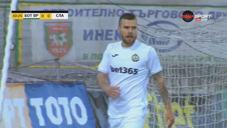 Радослав Кирилов хладнокръвно откри сметката на Славия срещу Ботев Враца