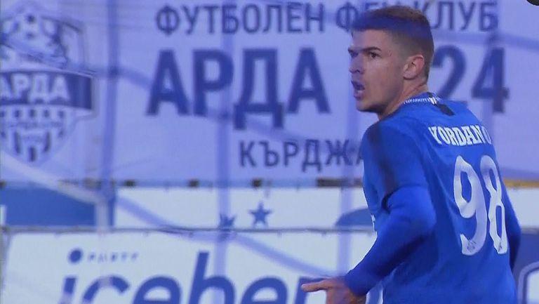 Тонислав Йорданов с гол от близка дистанция даде аванс за Арда в резултата срещу Етър