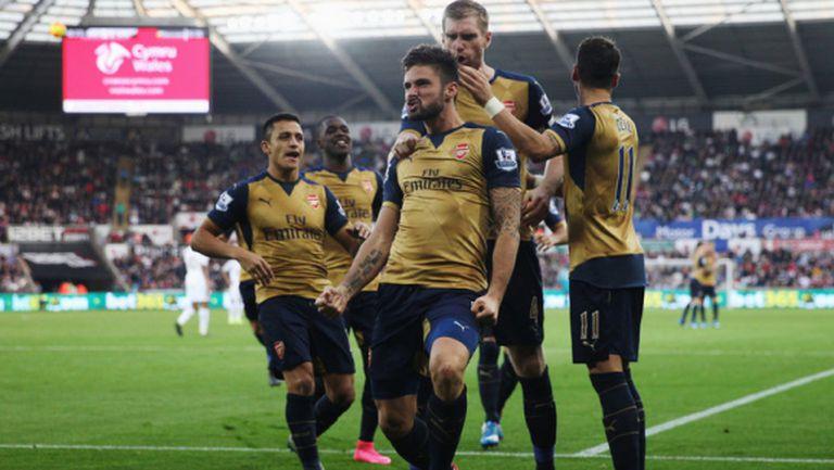 Кембъл вкара при петата поредна победа на Арсенал в Премиър лийг (видео)
