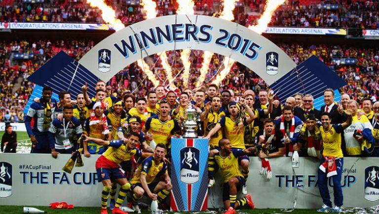 Арсенал се позабавлява с Астън Вила за рекордна Купа на Англия (видео)