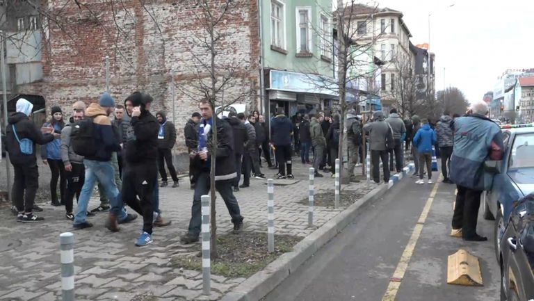"""""""Сините"""" фенове преди похода към стадион """"Васил Левски"""""""