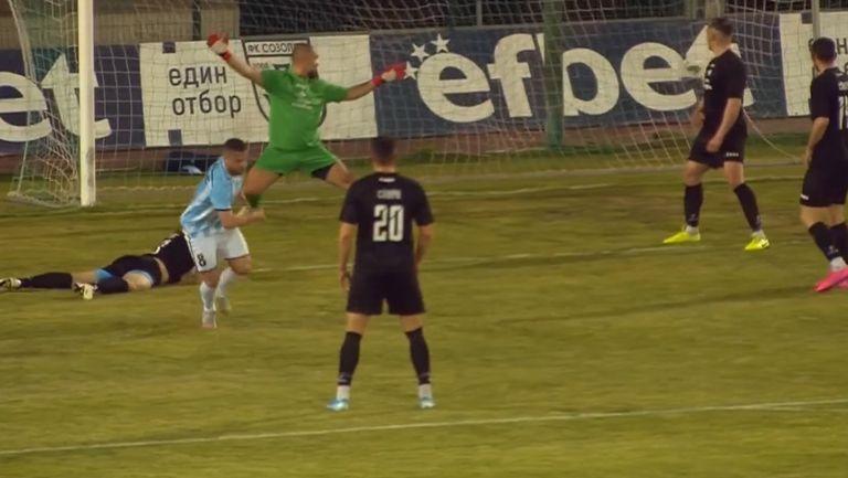 В 90-тата минута Гюзелев върна надеждите на Созопол за успех срещу Спортист